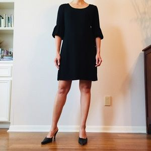 Ann Taylor Loft elbow bishop sleeve black dress